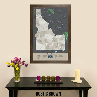 Earth Toned Idaho State Push Pin Travel Map Rustic Brown Frame
