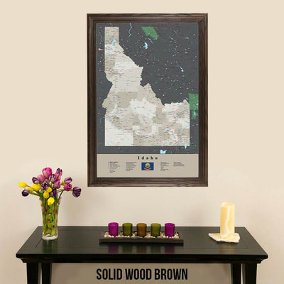 Earth Toned Idaho State Push Pin Travel Map Solid Wood Brown Frame