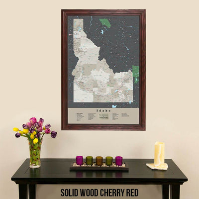Earth Toned Idaho State Push Pin Travel Map Solid Wood Cherry Frame