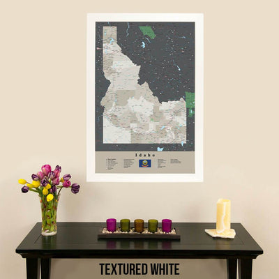 Earth Toned Idaho State Push Pin Travel Map Textured White Frame