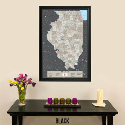 Earth Toned Illinois State Map Black Frame