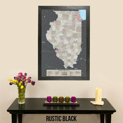 Earth Toned Illinois State Map Rustic Black Frame