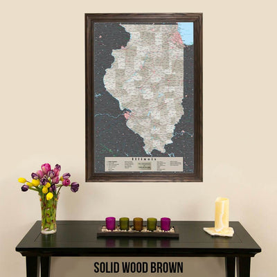Earth Toned Illinois State Map Solid Wood Brown Frame