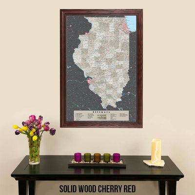Earth Toned Illinois State Map Solid Wood Cherry Frame