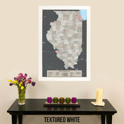 Earth Toned Illinois State Map Textured White Frame