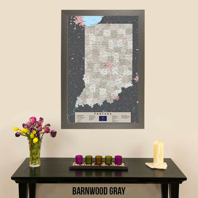 Earth Toned Indiana State Map with Pins Barnwood Gray Frame