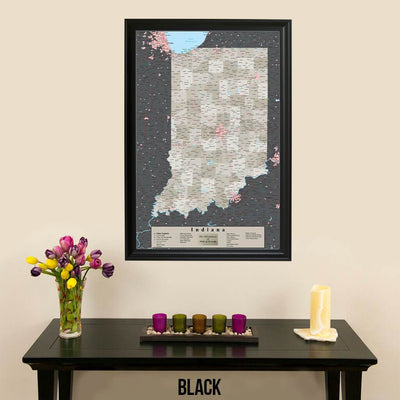 Earth Toned Indiana State Map with Pins Black Frame