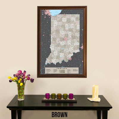 Earth Toned Indiana State Map with Pins Brown Frame