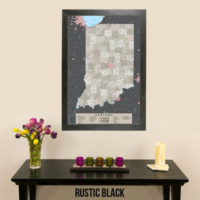Earth Toned Indiana State Map with Pins Rustic Black Frame