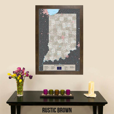 Earth Toned Indiana State Map with Pins Rustic Brown Frame