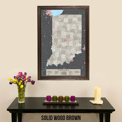 Earth Toned Indiana State Map with Pins Solid Wood Brown Frame
