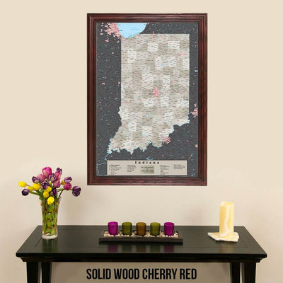 Earth Toned Indiana State Map with Pins Solid Wood Cherry Frame