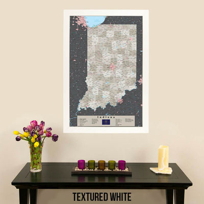 Earth Toned Indiana State Map with Pins Textured White Frame