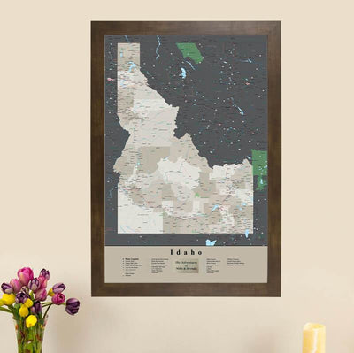 Earth Toned Idaho State Push Pin Travel Map main image