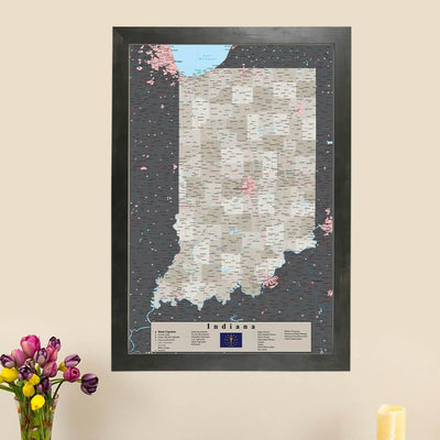 Earth Toned Indiana State Map with Pins main picture