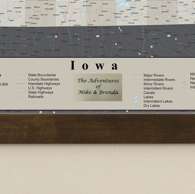 Earth Toned Iowa Push Pin Travel Map with Pins Plaque Location
