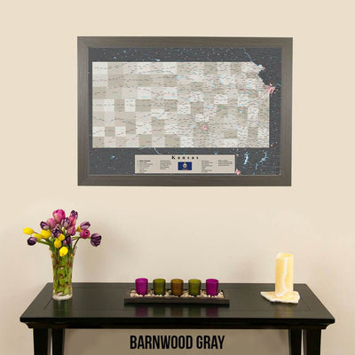 Earth Toned Kansas State Travel Map Barnwood Gray Frame