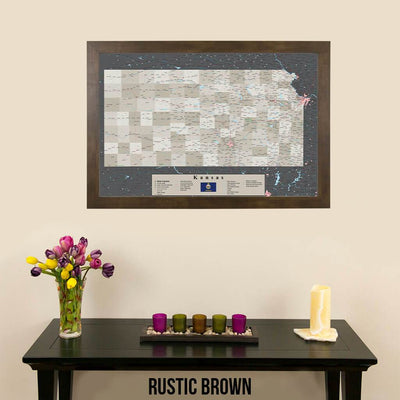 Earth Toned Kansas State Travel Map Rustic Brown Frame