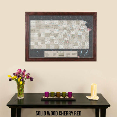 Earth Toned Kansas State Travel Map Solid Wood Cherry Frame