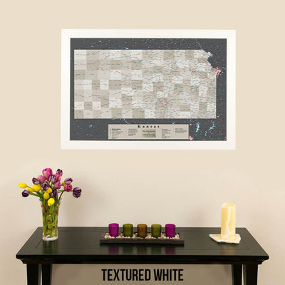 Earth Toned Kansas State Travel Map Textured White Frame