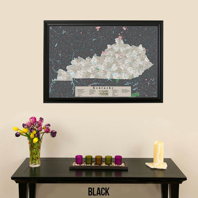 Earth Toned Kentucky Push Pin Travel Map with Pins Black Frame