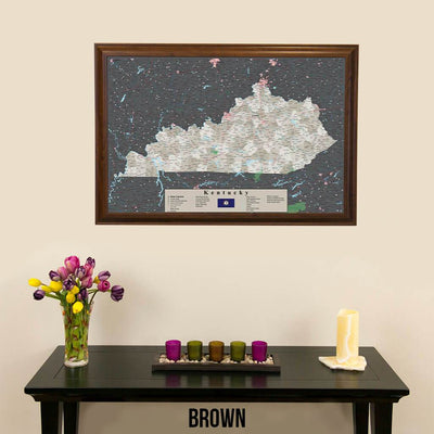 Earth Toned Kentucky Push Pin Travel Map with Pins Brown Frame