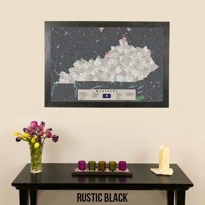 Earth Toned Kentucky Push Pin Travel Map with Pins Rustic Black Frame