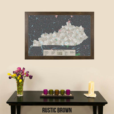 Earth Toned Kentucky Push Pin Travel Map with Pins Rustic Brown Frame