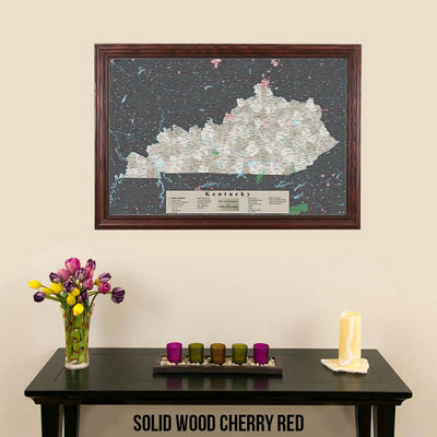 Earth Toned Kentucky Push Pin Travel Map with Pins Solid Wood Cherry Frame