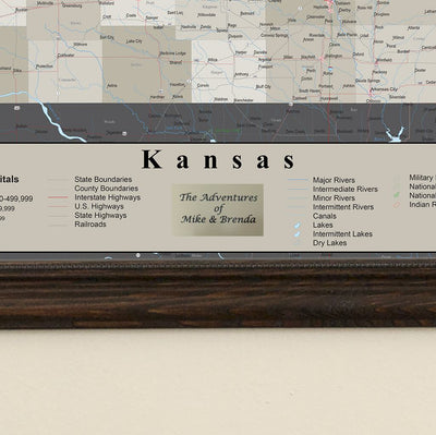 Earth Toned Kansas State Travel Map plaque location