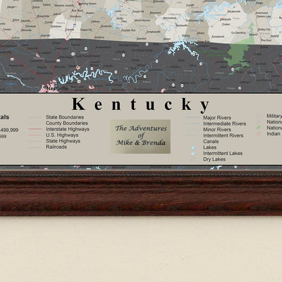 Earth Toned Kentucky Push Pin Travel Map with Pins plaque placement