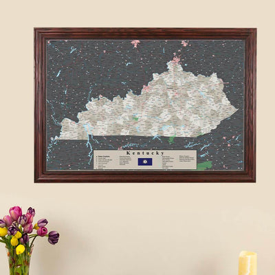 Earth Toned Kentucky Push Pin Travel Map with Pins main image