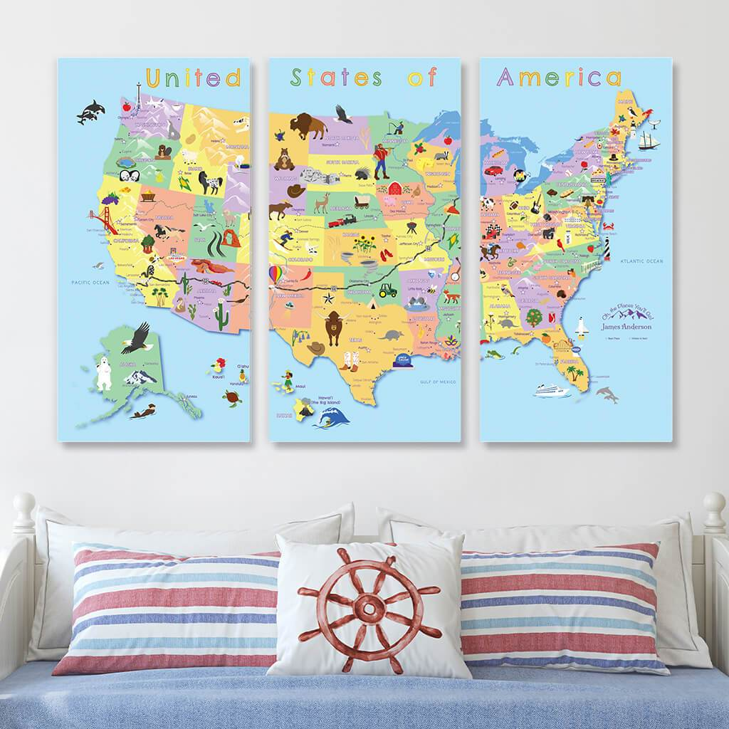 Large 3 Panel Canvas Map for Kids