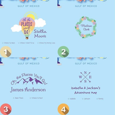 Personalization Options for Canvas Kids USA Push Pin Map