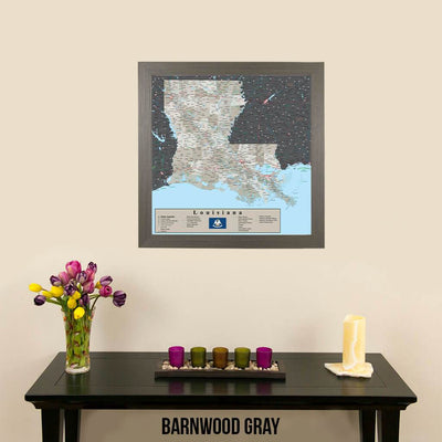 Earth Toned Louisiana Travel Map Barnwood Gray Frame