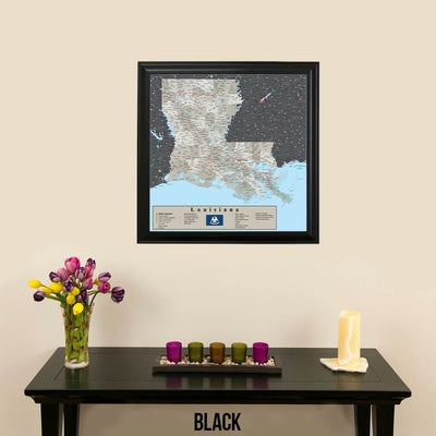 Earth Toned Louisiana Travel Map Black Frame