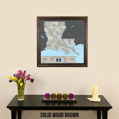 Earth Toned Louisiana Travel Map Solid Wood Brown Frame