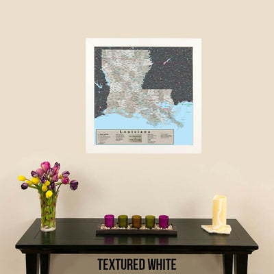 Earth Toned Louisiana Travel Map Textured White Frame