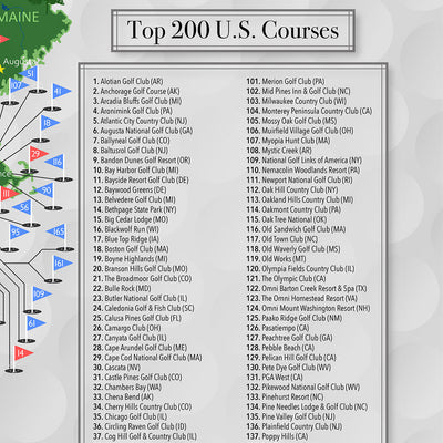 Closeup of Golf Courses on Top 200 US Golf Courses Map
