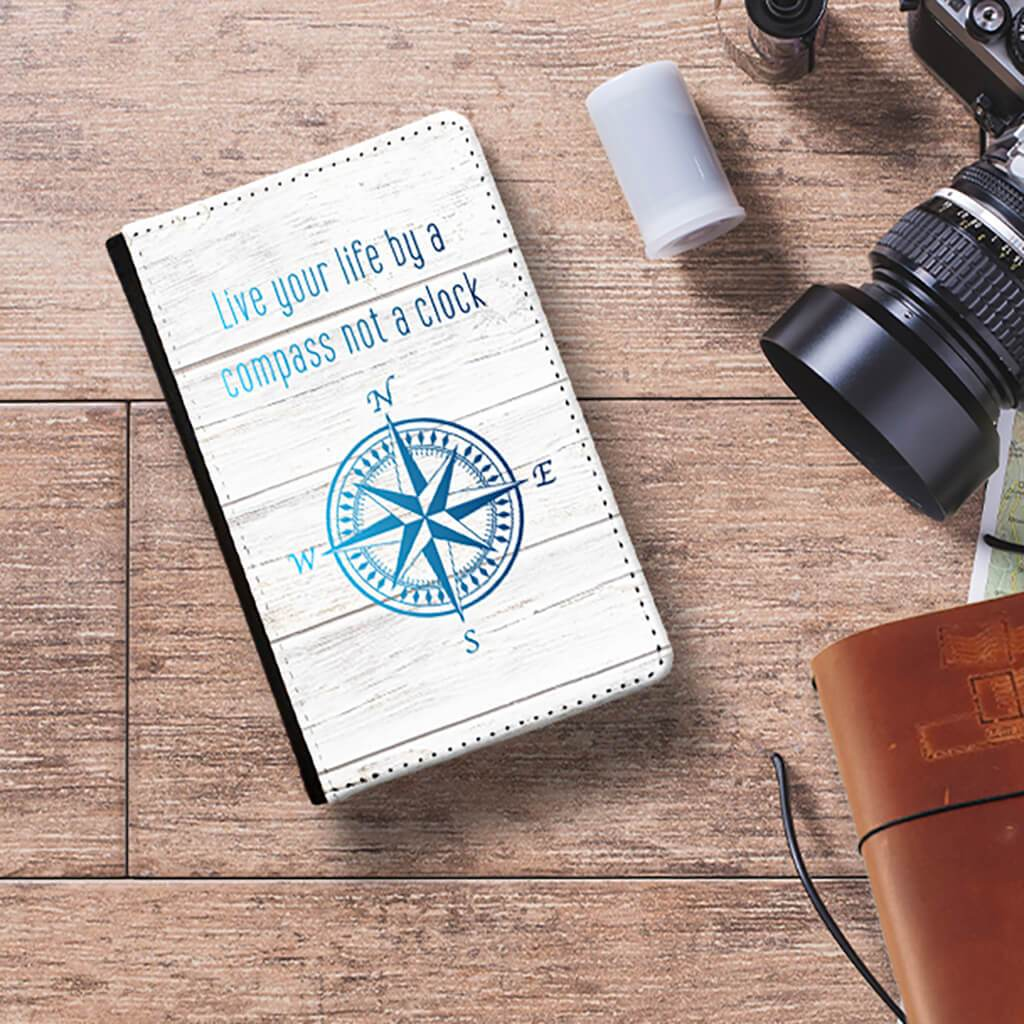 Live Your Life By a Compass Not a Clock (Blues)- Passport Cover