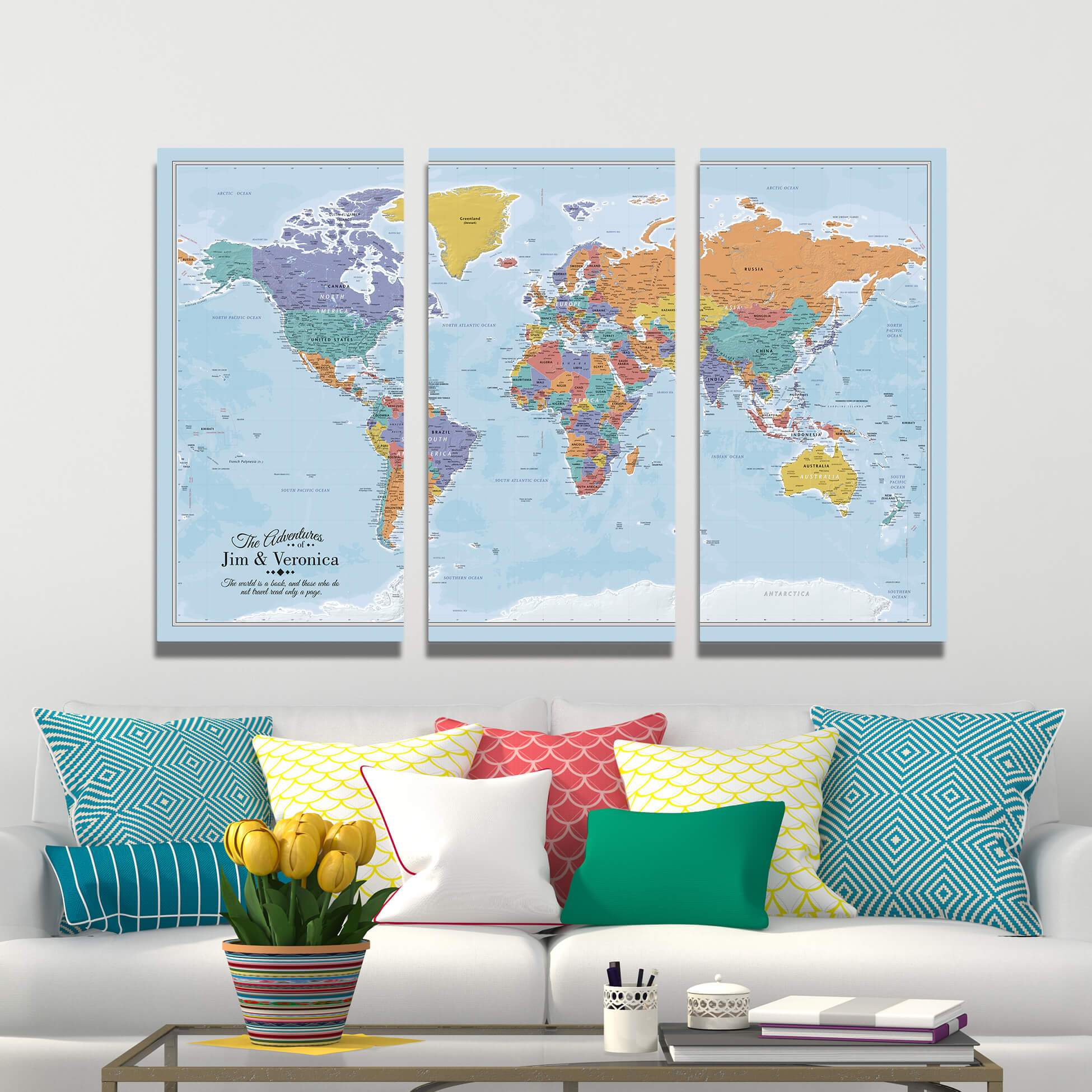 3 Panel Blue Oceans World Canvas Map