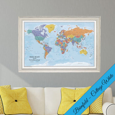 Premium Canvas Blue Oceans World Map With Pins In Premium Real Wood Brimfield Cottage White Frame