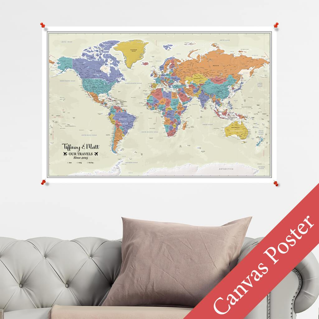 Tan Ocean World Canvas Poster Map