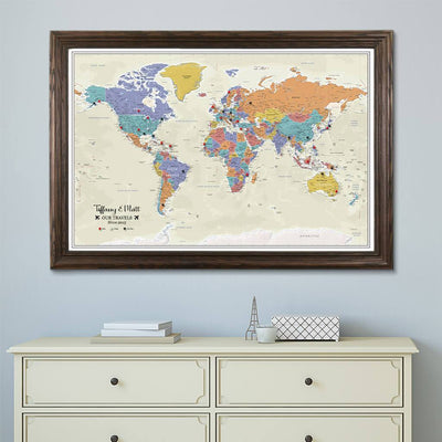 Tan Ocean World Push Pin Travel Map in Solid Wood Brown Frame