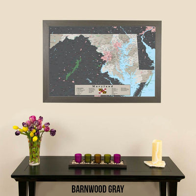 Earth Toned Maryland State Pin Map  Barnwood Gray Frame