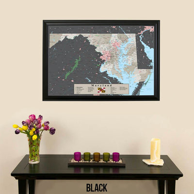 Earth Toned Maryland State Pin Map Black Frame