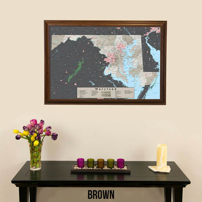 Earth Toned Maryland State Pin Map  Brown Frame