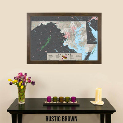 Earth Toned Maryland State Pin Map  Rustic Brown Frame