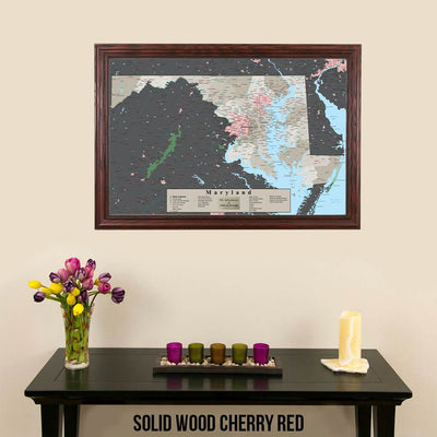 Earth Toned Maryland State Pin Map Solid Wood Cherry Frame