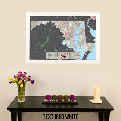 Earth Toned Maryland State Pin Map Textured White Frame